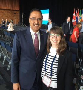 Agora team member Hannah with Honourable Amarjeet Sohi